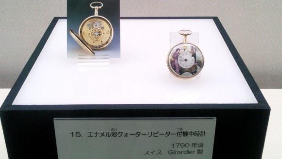 懐中時計展展示品のエナメル懐中時計